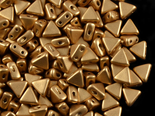 50 pcs Khéops® Par Puca® 2-hole Beads, Triangle 6mm, Crystal Pale Gold (Aztec Gold), Czech Glass