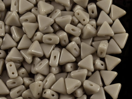 50 pcs Khéops® Par Puca® 2-hole Beads, Triangle 6mm, Opaque Gray, Czech Glass