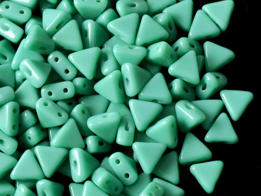 50 pcs Khéops® Par Puca® 2-hole Beads, Triangle 6mm, Opaque Green Turquoise, Czech Glass