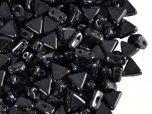 50 pcs Khéops® Par Puca® 2-hole Beads, Triangle 6mm, Jet Hematite (Gray), Czech Glass