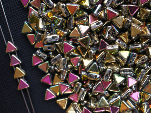 50 pcs Khéops® Par Puca® 2-hole Beads, Triangle 6mm, California Blooming Meadow, Czech Glass