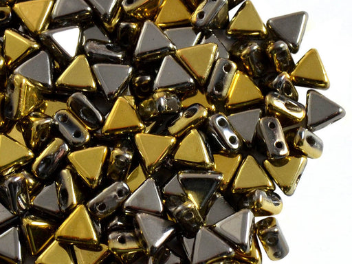50 pcs Khéops® Par Puca® 2-hole Beads, Triangle 6mm, California Graphite, Czech Glass