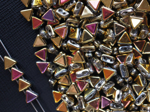 50 pcs Khéops® Par Puca® 2-hole Beads, Triangle 6mm, California Sun, Czech Glass