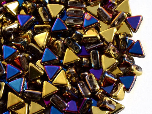 50 pcs Khéops® Par Puca® 2-hole Beads, Triangle 6mm, California Violet, Czech Glass