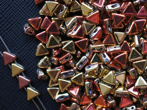 50 pcs Khéops® Par Puca® 2-hole Beads, Triangle 6mm, California Golden Rush, Czech Glass