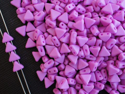 50 pcs Khéops® Par Puca® 2-hole Beads, Triangle 6mm, Opaque Fuchsia Silk Matte, Czech Glass