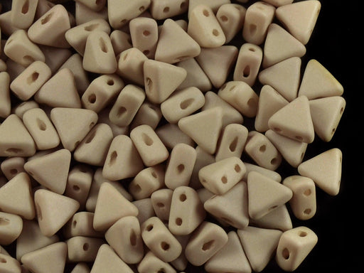 50 pcs Khéops® Par Puca® 2-hole Beads, Triangle 6mm, Opaque Light Olivine/Beige Silk Matte, Czech Glass