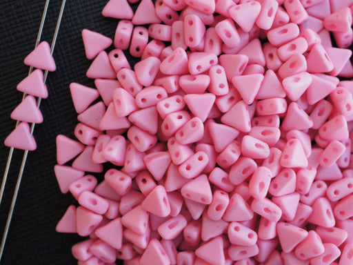 50 pcs Khéops® Par Puca® 2-hole Beads, Triangle 6mm, Opaque Pink Silk Matte, Czech Glass