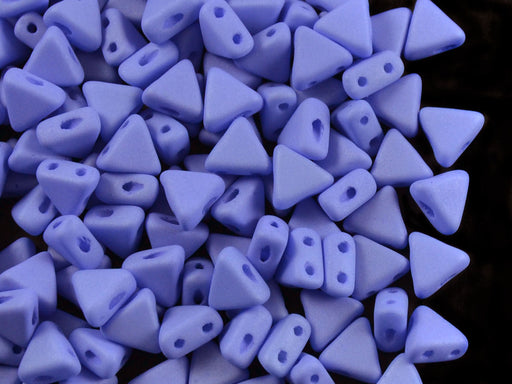 50 pcs Khéops® Par Puca® 2-hole Beads, Triangle 6mm, Opaque Sapphire Silk Matte, Czech Glass