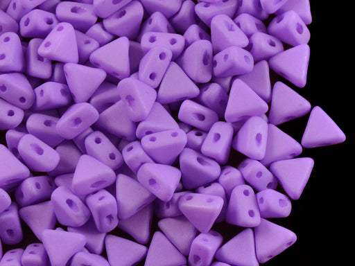 50 pcs Khéops® Par Puca® 2-hole Beads, Triangle 6mm, Opaque Violet Silk Matte, Czech Glass