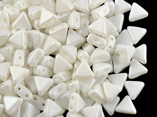 50 pcs Khéops® Par Puca® 2-hole Beads, Triangle 6mm, Opaque White Silk Matte, Czech Glass