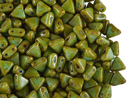 50 pcs Khéops® Par Puca® 2-hole Beads, Triangle 6mm, Opaque Blue Turquoise Travertine Dark, Czech Glass