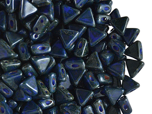 50 pcs Khéops® Par Puca® 2-hole Beads, Triangle 6mm, Opaque Sapphire Travertine Dark, Czech Glass