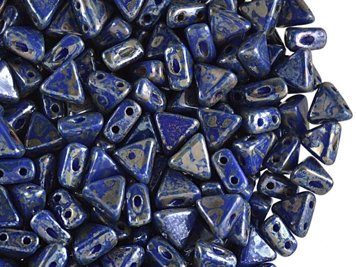50 pcs Khéops® Par Puca® 2-hole Beads, Triangle 6mm, Opaque Sapphire Picasso, Czech Glass