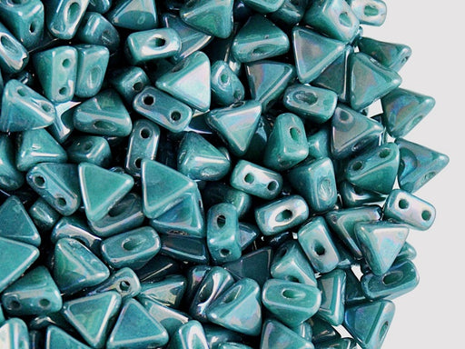 50 pcs Khéops® Par Puca® 2-hole Beads, Triangle 6mm, Opaque Green Turquoise Nebula, Czech Glass