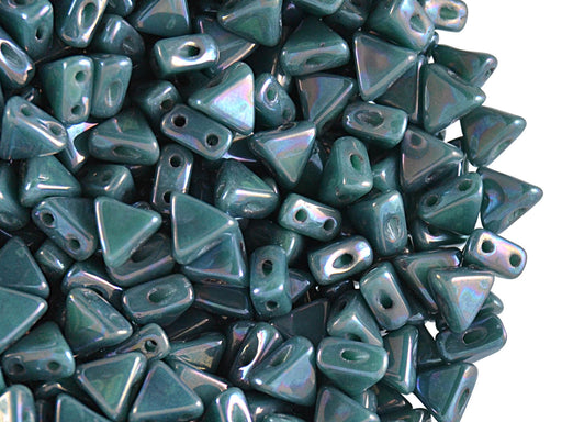 50 pcs Khéops® Par Puca® 2-hole Beads, Triangle 6mm, Opaque Blue Turquoise Nebula, Czech Glass