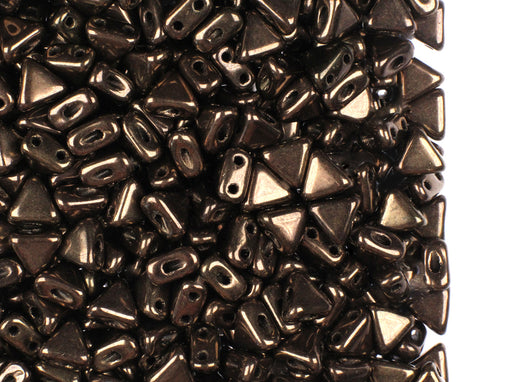 50 pcs Khéops® Par Puca® 2-hole Beads, Triangle 6mm, Dark Gold Bronze, Czech Glass