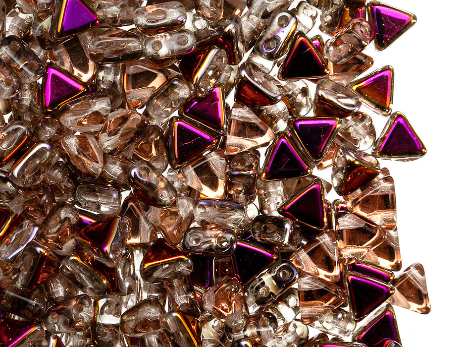 50 pcs Kheops® par Puca® 2-hole Beads, Triangle 6mm, Crystal Sliperit, Czech Glass