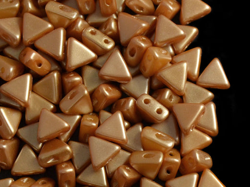 50 pcs Khéops® Par Puca® 2-hole Beads, Triangle 6mm, Pastel Amber, Czech Glass