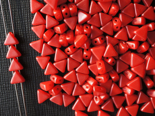 50 pcs Khéops® Par Puca® 2-hole Beads, Triangle 6mm, Pastel Dark Coral Red, Czech Glass