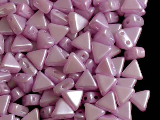 50 pcs Khéops® Par Puca® 2-hole Beads, Triangle 6mm, Pastel Light Lila Rose, Czech Glass