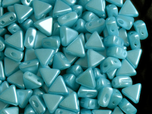 50 pcs Khéops® Par Puca® 2-hole Beads, Triangle 6mm, Pastel Aqua, Czech Glass
