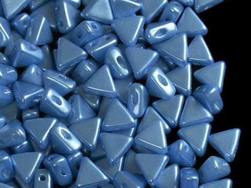 50 pcs Khéops® Par Puca® 2-hole Beads, Triangle 6mm, Pastel Turquoise, Czech Glass