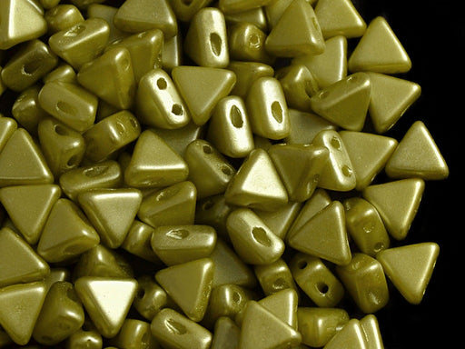 50 pcs Khéops® Par Puca® 2-hole Beads, Triangle 6mm, Pastel Lime Green, Czech Glass