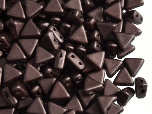 50 pcs Khéops® Par Puca® 2-hole Beads, Triangle 6mm, Pastel Dark Brown/Bronze, Czech Glass