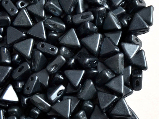 50 pcs Khéops® Par Puca® 2-hole Beads, Triangle 6mm, Pastel Gray Hematite (Gray), Czech Glass