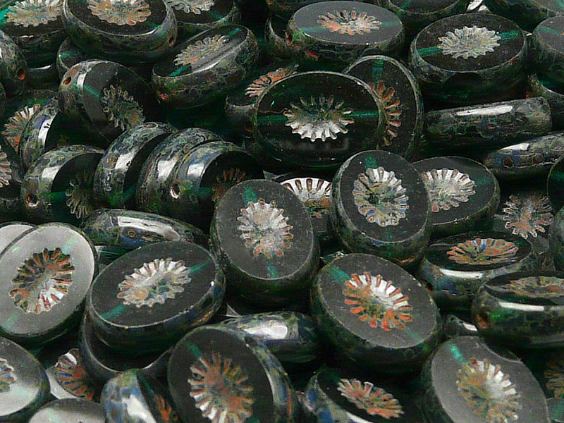 10 pcs Kiwi Table Cut Beads, Carved Oval 14x10mm, Chrysolite Transparent Travertine, Czech Glass