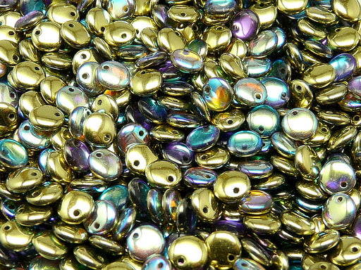 50 pcs Lentil Pressed Beads, 6mm, Crystal Golden Rainbow, Czech Glass