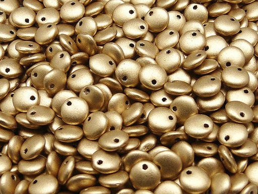 50 pcs Lentil Pressed Beads, 6mm, Aztec Gold (Crystal Bronze Pale Gold), Czech Glass