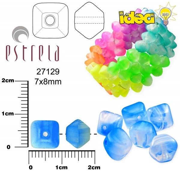 20 pcs Lucerna NEON Beads, 7x8mm, Light Blue, Czech Glass