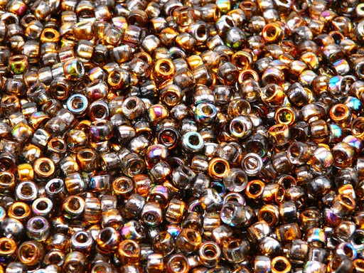 10 g 7/0 Seed Beads MATUBO, Magic Orange Gray, Czech Glass