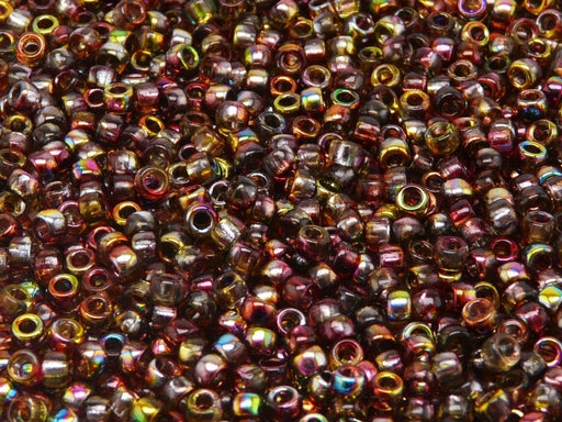 10 g 7/0 Seed Beads MATUBO, Magic Red Yellow, Czech Glass