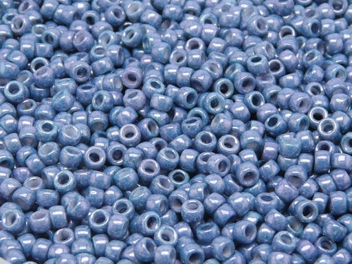 10 g 8/0 Seed Beads MATUBO, Chalk Blue Luster, Czech Glass