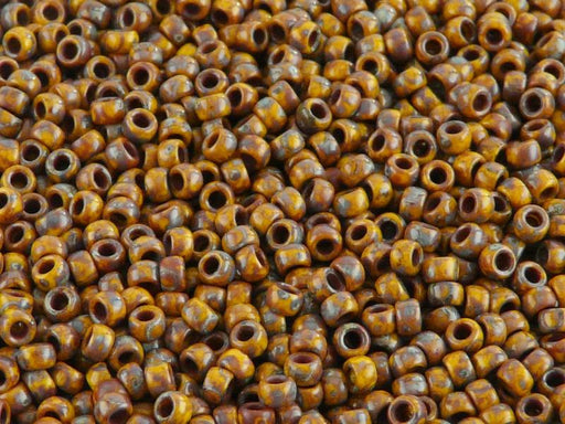 10 g 8/0 Seed Beads MATUBO, Lemon Travertine Dark, Czech Glass