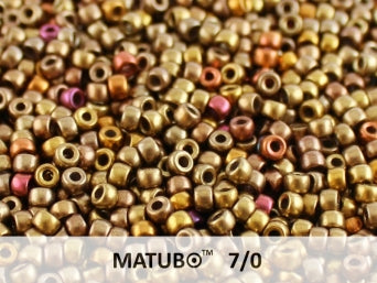 10 g 7/0 Seed Beads MATUBO, Crystal Gold Rainbow, Czech Glass
