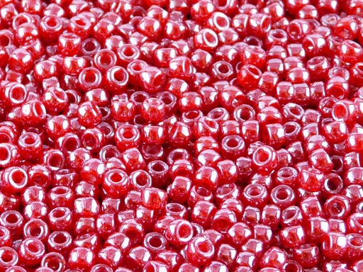 10 g 7/0 Seed Beads MATUBO, Opal Ruby White Luster, Czech Glass