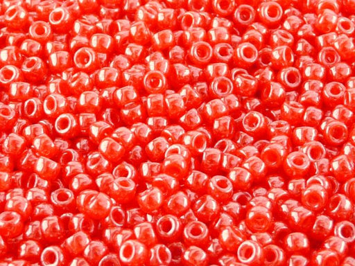 10 g 7/0 Seed Beads MATUBO, Opal Orange Red White Luster, Czech Glass