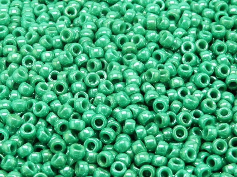 7/0 Seed Beads MATUBO, Opaque Turquoise Dark Green White Luster, Czech Glass