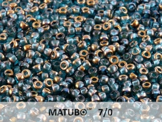 10 g 7/0 Seed Beads MATUBO, Aqua Semi Bronze Luster, Czech Glass