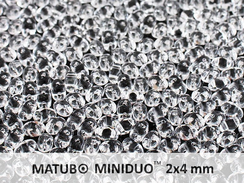 10 g 2-hole MiniDuo™ Pressed Beads, 2x4mm, Crystal Clear, Czech Glass