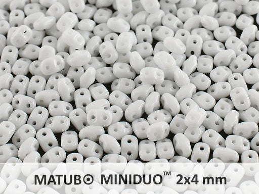 10 g 2-hole MiniDuo™ Pressed Beads, 2x4mm, Chalk White Luster, Czech Glass
