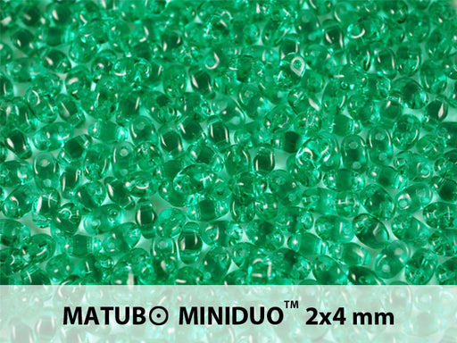 10 g 2-hole MiniDuo™ Pressed Beads, 2x4mm, Emerald, Czech Glass