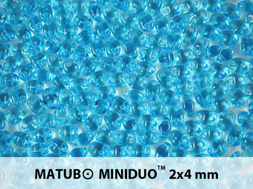 10 g 2-hole MiniDuo™ Pressed Beads, 2x4mm, Aquamarine, Czech Glass