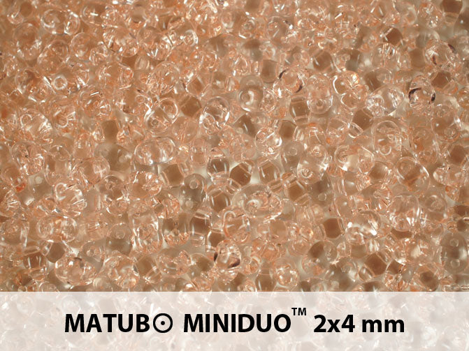 10 g 2-hole MiniDuo™ Pressed Beads, 2x4mm, Rosaline (Light Pink Transparent), Czech Glass