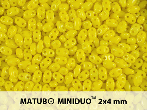 10 g 2-hole MiniDuo™ Pressed Beads, 2x4mm, Lemon (Yellow Opaque), Czech Glass