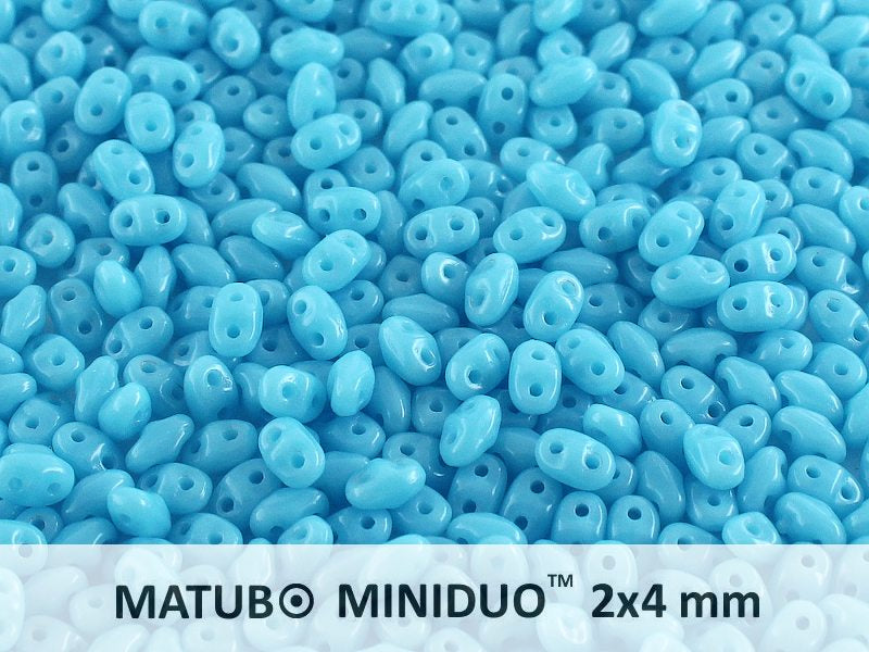 10 g 2-hole MiniDuo™ Pressed Beads, 2x4mm, Turquoise Blue, Czech Glass